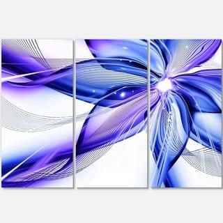 Fractal Bright Blue Flower - Floral Art Glossy Metal Wall Art - 36Wx28H