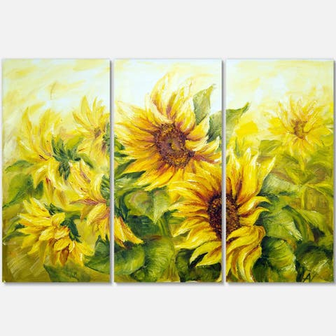 Bright Yellow Sunny Sunflowers - Floral Painting Glossy Metal Wall Art - 36Wx28H - 36 in. wide x 28 in. high - 3 panels