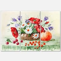 Colorful Bunch of Flowers and Fruits - Floral Glossy Metal Wall Art - 36Wx28H