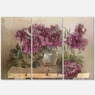 Bouquet of Pink Peonies - Floral Glossy Metal Wall Art - 36Wx28H