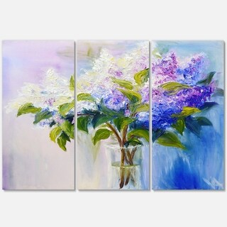 Blue and White Lilacs in Vase - Floral Glossy Metal Wall Art - 36Wx28H