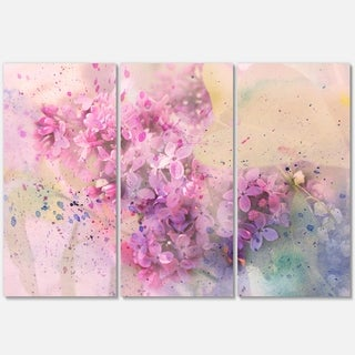 Twig of Lilac Flowers - Floral Glossy Metal Wall Art - 36Wx28H