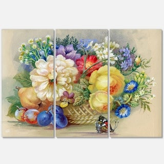Bunch of Flowers and Fruits - Floral Glossy Metal Wall Art - 36Wx28H