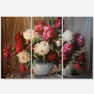 Bouquet of Blooming Peonies - Floral Glossy Metal Wall Art - 36Wx28H