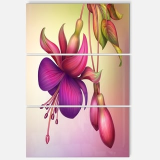 Fuchsia Flowers with Green Leaves - Floral Glossy Metal Wall Art - 36Wx28H
