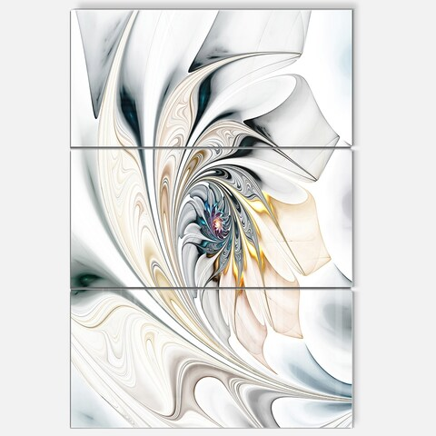 White Stained Glass Floral Art - Glossy Metal Wall Art - 36Wx28H