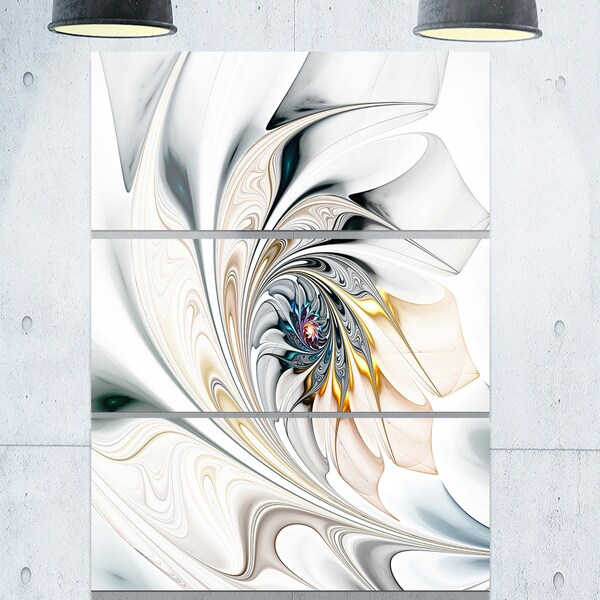 White Stained Glass Floral Art - Glossy Metal Wall Art - 36Wx28H  sc 1 st  Overstock.com & Shop White Stained Glass Floral Art - Glossy Metal Wall Art ...