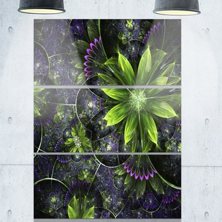 Glossy Green Purple Fractal Flowers - Floral Glossy Metal Wall Art - 36Wx28H