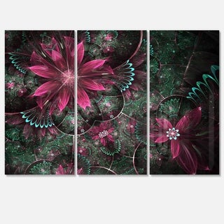 Glossy Green and Red Fractal Flowers - Floral Glossy Metal Wall Art - 36Wx28H