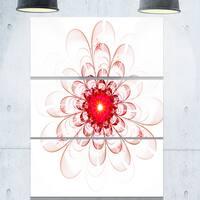 Full Bloom Fractal Flower in Red - Flower Large Metal Wall Art - 36Wx28H