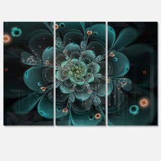 Full Bloom Fractal Flower in Blue - Flower Large Metal Wall Art - 36Wx28H