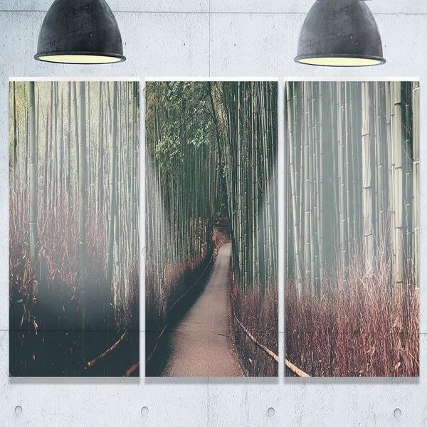Bamboo Grove In Arashiyama Panorama Oversized Forest Glossy Metal Wall Art 36wx28h