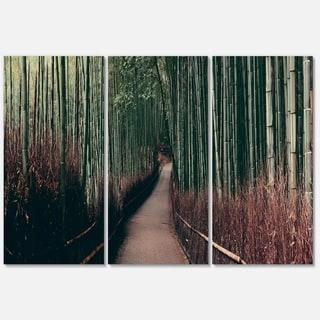 Bamboo Grove in Arashiyama Panorama - Oversized Forest Glossy Metal Wall Art - 36Wx28H