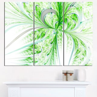 Green Grungy Floral Fractal Shapes - Floral Glossy Metal Wall Art - 36Wx28H