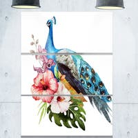 Hibiscus Flowers and Blue Peacock - Flower Large Metal Wall Art - 36Wx28H