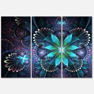 Fractal Flower Blue - Flower Large Metal Wall Art - 36Wx28H