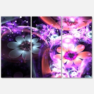 Fractal Flower Dark Purple - Flower Large Metal Wall Art - 36Wx28H