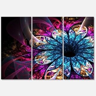 Fractal Flower Blue Red - Flower Large Metal Wall Art - 36Wx28H