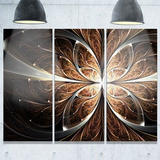 Fractal Flower Brown Black - Floral Glossy Metal Wall Art - 36Wx28H