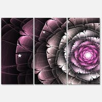 Fractal Flower Glossy Pink - Floral Glossy Metal Wall Art - 36Wx28H