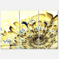 Light Yellow Fractal Flower - Floral Glossy Metal Wall Art - 36Wx28H