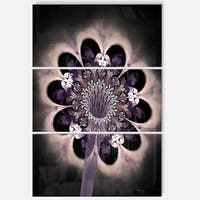 Bright Yellow Fractal Flower - Floral Glossy Metal Wall Art - 36Wx28H