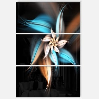 Blue Brown Fractal Flower - Floral Glossy Metal Wall Art - 36Wx28H