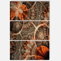 Orange Brown Fractal Flower - Floral Glossy Metal Wall Art - 36Wx28H