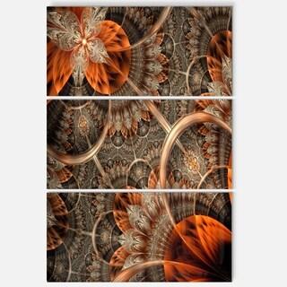 Orange Brown Fractal Flower - Floral Glossy Metal Wall Art - 36Wx28H