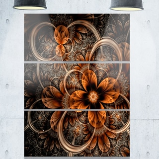 Dark Orange Fractal Flower - Floral Glossy Metal Wall Art - 36Wx28H
