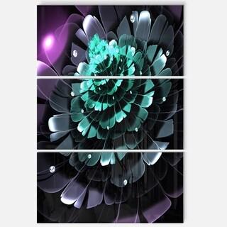 Purple Blue Fractal Flower - Floral Glossy Metal Wall Art - 36Wx28H