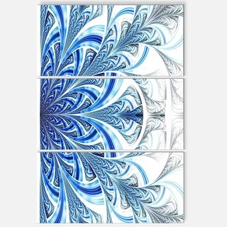 Fractal Flower in Soft Blue - Floral Glossy Metal Wall Art - 36Wx28H