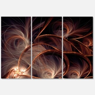 Glittering Brown Fractal Flower on Black - Floral Glossy Metal Wall Art - 36Wx28H