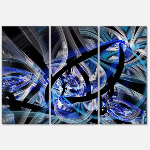 Symmetrical Spiral Blue Flower - Floral Glossy Metal Wall Art - 36Wx28H - 36 in. wide x 28 in. high - 3 panels