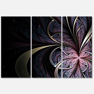 Dark Blue Fractal Butterfly Flower - Floral Glossy Metal Wall Art - 36Wx28H