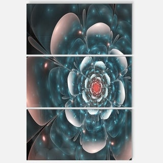Full Bloom Blue Fractal Flower - Floral Glossy Metal Wall Art - 36Wx28H