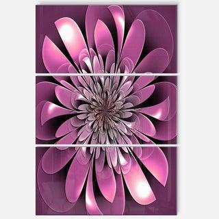 Glittering Lush Purple Fractal Flower - Floral Glossy Metal Wall Art - 36Wx28H