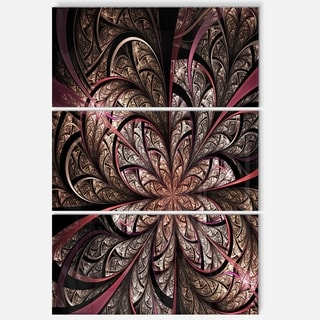 Glowing Fractal Flower Design - Floral Glossy Metal Wall Art - 36Wx28H