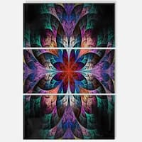 Multi Color Fractal Flower Pattern - Floral Glossy Metal Wall Art - 36Wx28H