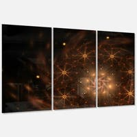 Large Rounded Brown Fractal Flower - Floral Large Glossy Metal Wall Art - 36Wx28H