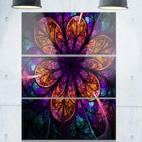 Dark Red and Purple Fractal Flower - Floral Large Glossy Metal Wall Art - 36Wx28H