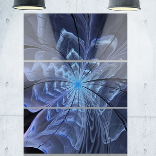 Symmetrical Blue Digital Fractal Flower - Floral Large Glossy Metal Wall Art - 36Wx28H