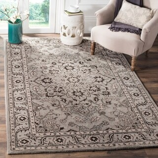 Safavieh Handmade Antiquity Grey / Beige Wool Rug (4' x 6')