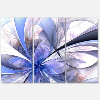 Blue Fractal Flower Design in White - Floral Large Glossy Metal Wall Art - 36Wx28H