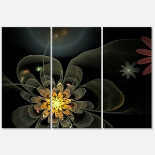 Yellow Small Fractal Flower in Black - Floral Glossy Metal Wall Art - 36Wx28H