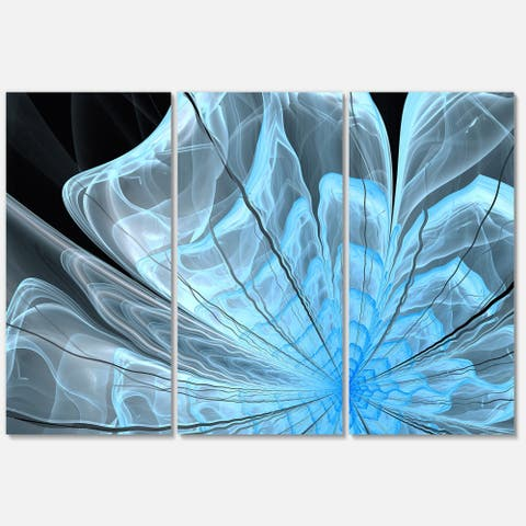 Light Blue Flower with Petals - Floral Glossy Metal Wall Art - 36Wx28H - 36 in. wide x 28 in. high - 3 panels