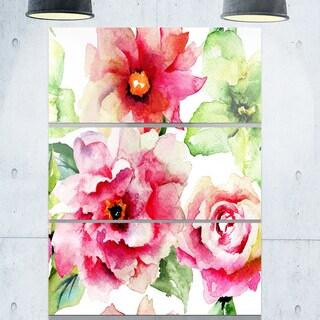 Roses and Gerber Flowers Watercolor - Floral Metal Wall Art - 36Wx28H