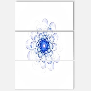 Perfect Glowing Fractal Flower in Blue - Floral Metal Wall Art - 36Wx28H