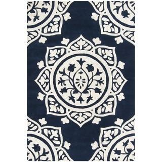 Safavieh Handmade Bella Navy / Ivory Wool Rug (4' x 6')