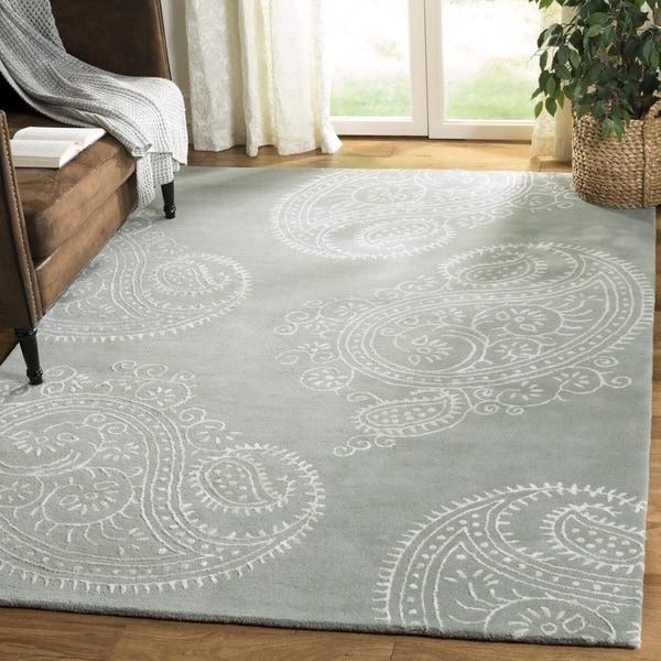 Safavieh Handmade Bella Paisley Grey / Ivory Wool Rug (4' x 6')